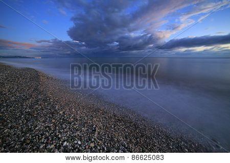 Black sea coast at night, Abkhazia, Georgia