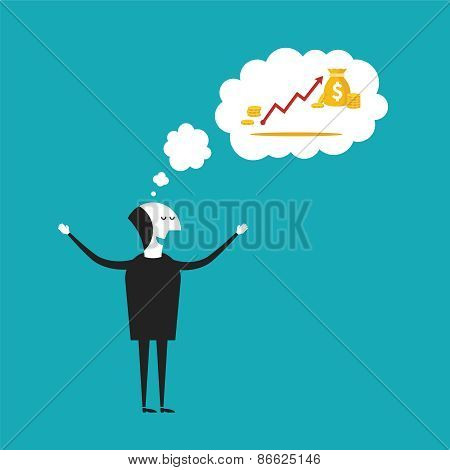 Dreaming About Wealth Vector Concept In Flat Cartoon Style