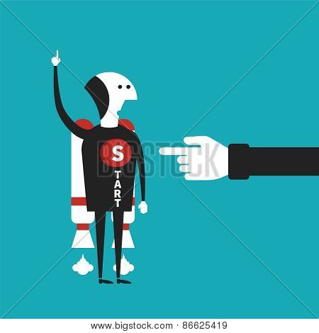 Business Startup Vector Concept In Flat Cartoon Style