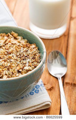Oatmeal Porridge And Glass Of Milk