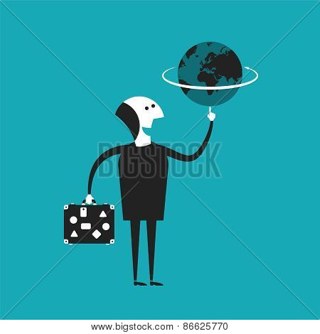 Businessman Or Traveler Holding Globe In Hand Vector Concept In Flat Cartoon Style