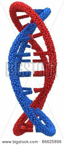 Red and Blue DNA molecule closeup