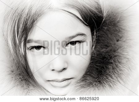 Vintage style portrait of a little girl