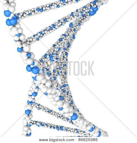 Close up Dna double helix molecules and chromosomes