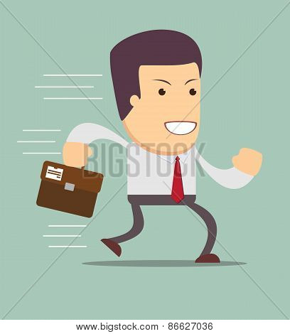 Smiling businessman running to work.