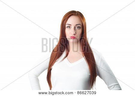 Young Redhead Woman Portrait With Disgust Face Expression