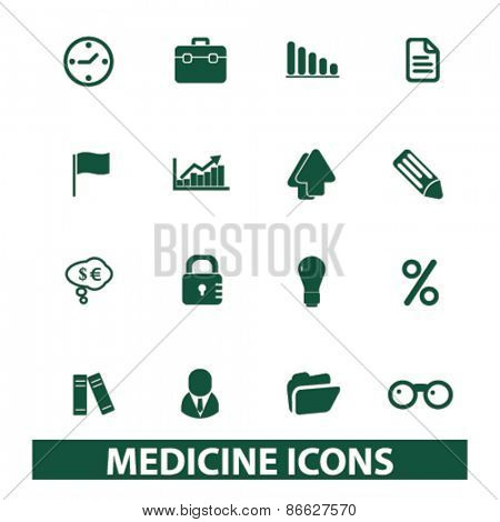 medicine, health care icons, signs, illustrations set, vector