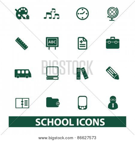 school, education, training icons, signs, illustrations set, vector