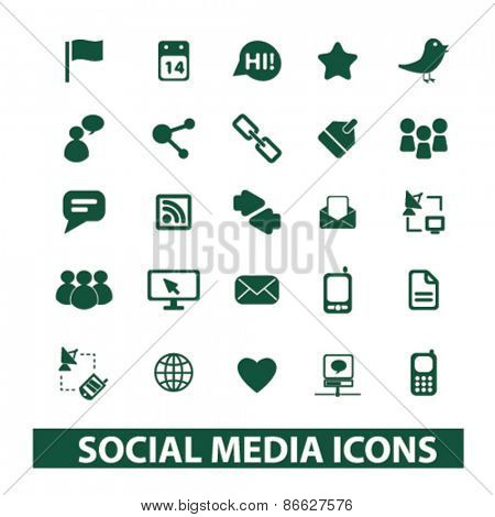 social media, blog icons, signs, illustrations set, vector