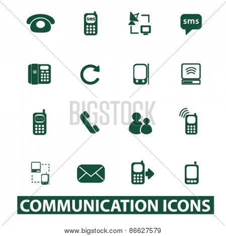 communication, technology icons, signs, illustrations set, vector