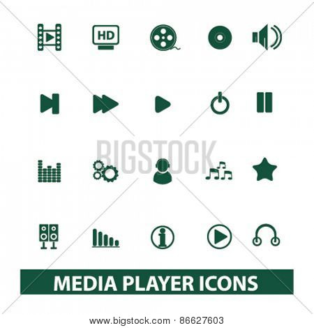media player, audio, music icons, signs, illustrations set, vector