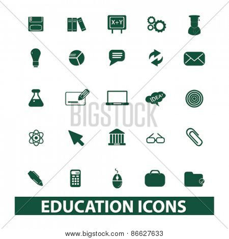 education, school, science icons, signs, illustrations set, vector