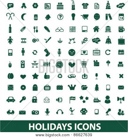 holidays, celebration, party icons, signs, illustrations set, vector
