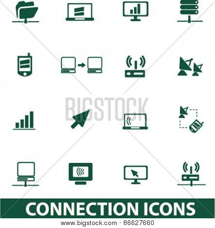 connection, communication icons, signs, illustrations set, vector