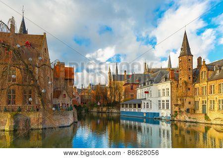 Cityscape from Rozenhoedkaai in Bruges, Belgium