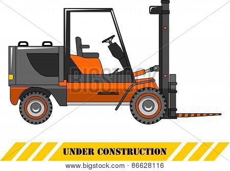 Forklift. Heavy construction machines. Vector illustration