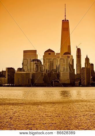 Lower Manhattan in New York City with orange filter