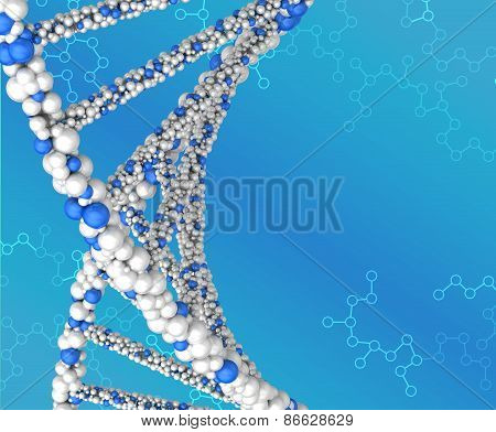 Spiral structure DNA on abstract blue background
