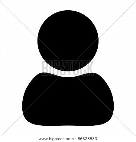 vector black silhouette man icon on white background.