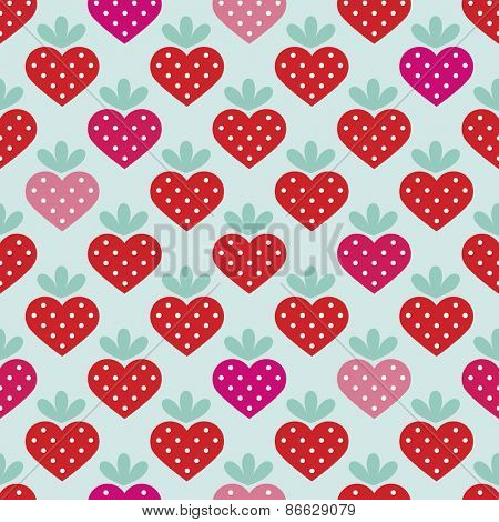 Seamless strawberry fruit heart with polka dot filling background pattern in vector