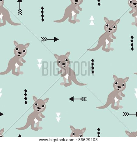 Seamless kids kangaroo illustration geometric arrows australian background pattern in vector