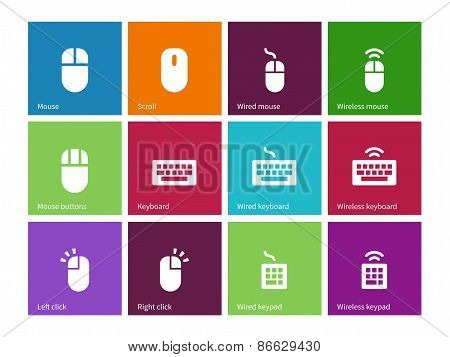 Mouse and num lock icons on color background.