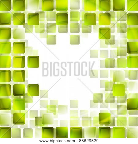 Green tech squares on white background. Vector design