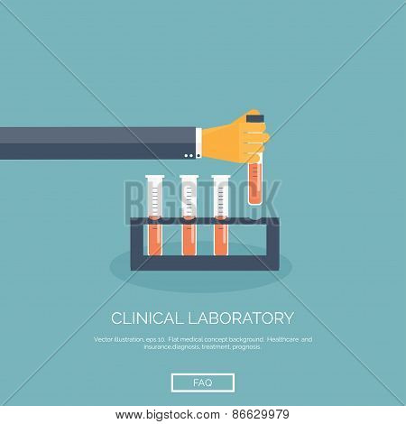 Vector illustration. Flat background with hand and medical flask. Medical research.
