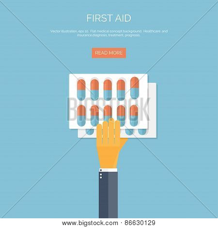 Vector illustration. Flat background with hand and medical pills. First aid. Cardiology.