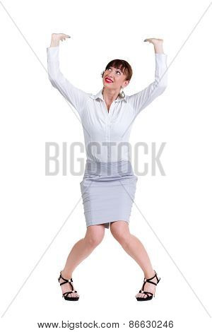 Full body portrait of happy smiling young beautiful business woman showing something