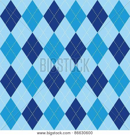 Argyle Pattern Blue Rhombus Seamless Texture