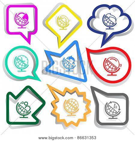 School globe set. Paper stickers. Raster illustration.