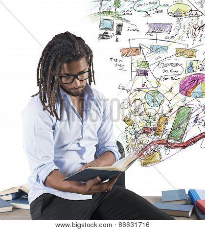 Teacher studying graphs