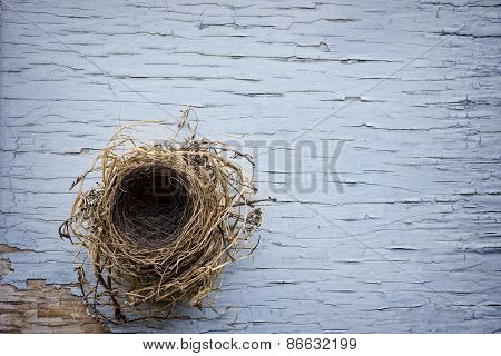 Bird Nest On Weathered Wood
