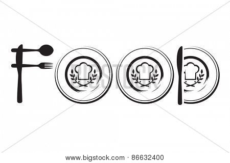 restaurant menu design with spoon, fork, knife and plate
