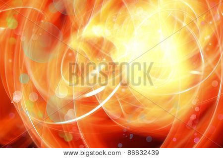 Abstract swirly lines and circles on yellow orange background