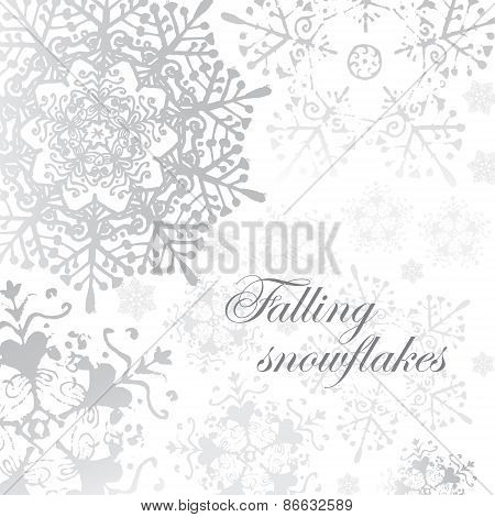 vector winter grey snowflakes christmas pattern for card
