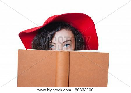 Young Woman With Red Hat Blue Eyes And Brown Book