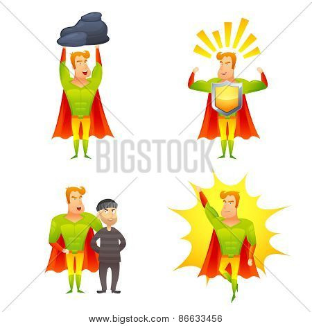 Superhero cartoon character power icons set