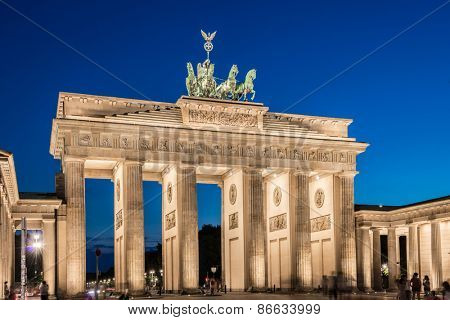Berlin - AUGUST 4, 2013: Brandenburg Gate on August 4 in Germany, Berlin. Brandenburg Gate is a popular tourist attraction in Berlin
