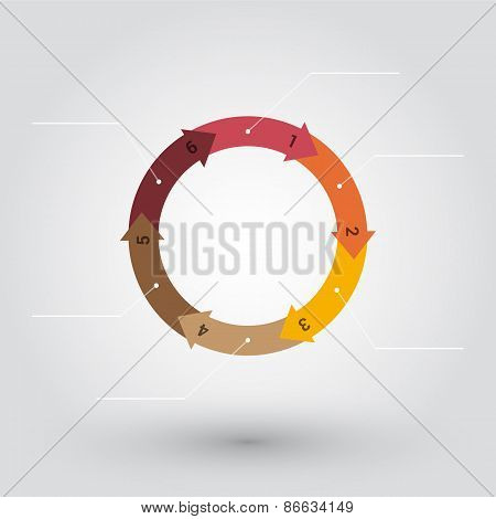 Wheel From Colored Pastel Numbered Arrows With Labels