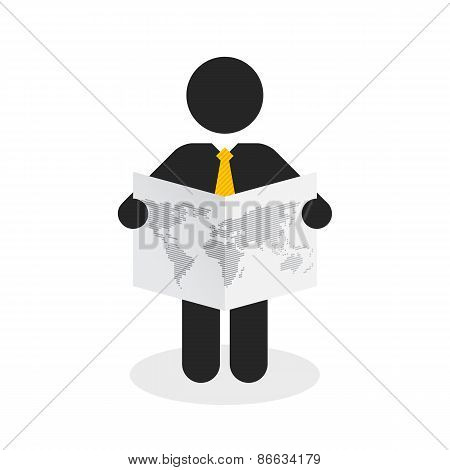 Black Figure With A Yellow Tie Viewing The World Map