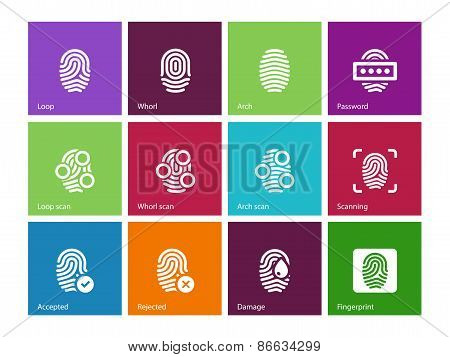 Finger access icons on color background.