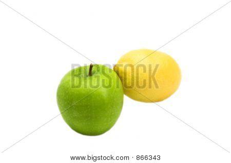 fruit friends - green apple and yellow lemon