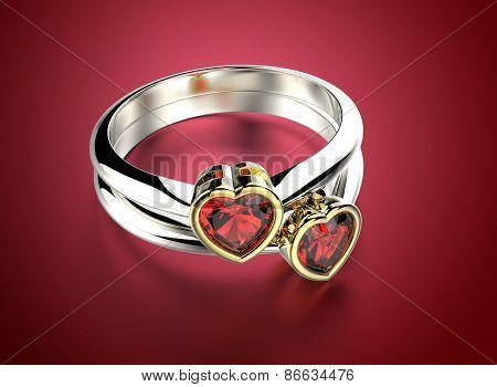 Golden Ring with Diamond heart shape.  Romance background