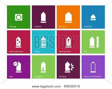 Sex and condom icons on color background.