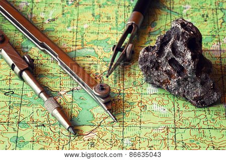 Map and compasses. Travel planning.