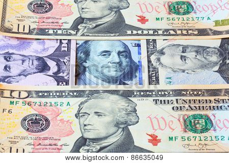 Banknotes of dollars. Business background.