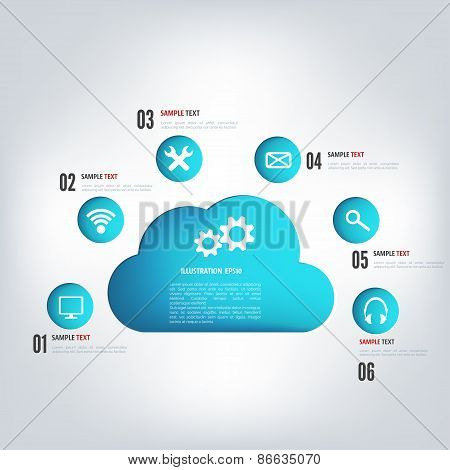 Cloud computing background with web icons. Social network. Mobile app.