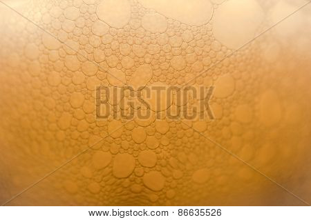 Extreme close-up of the beer bubbles